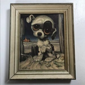 Pitty Puppy by Gig vintage home decor framed art